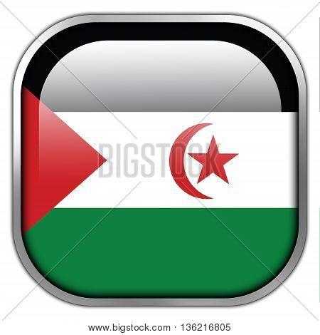 Flag Of Sahrawi Arab Democratic Republic, Square Glossy Button