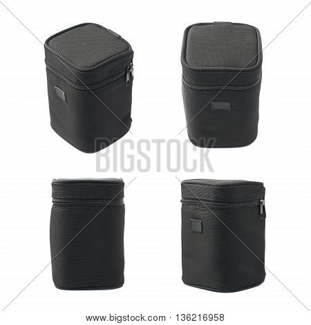 Black lens case bag isolated over the white background, set of four different foreshortenings