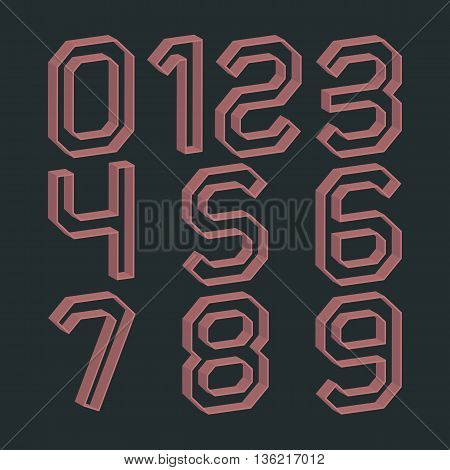 Set of numbers from zero to nine in retro colors and 3D effects vector illustrations.