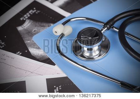 Medical Test - stethoscope ultrasound shot and cardiogram.