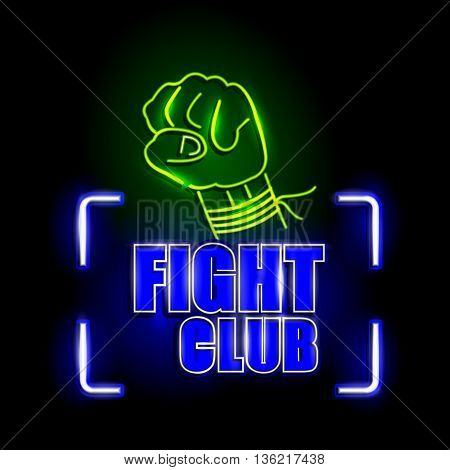 easy to edit vector illustration of Neon Light signboard for Fight Club