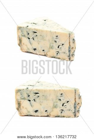 Blue roquefort cheese isolated over the white background, set of two different foreshortenings