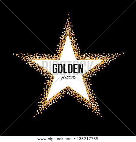 Golden Frame in the Form of Star with Text on Black Background