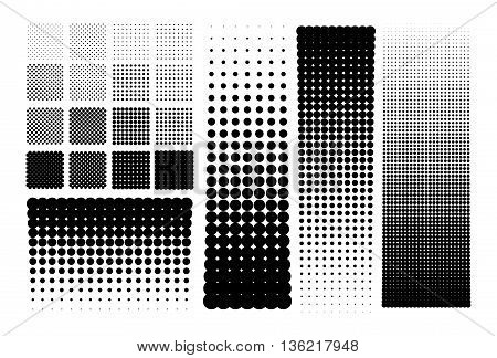 Different vector halftones dots in gradients and patterns