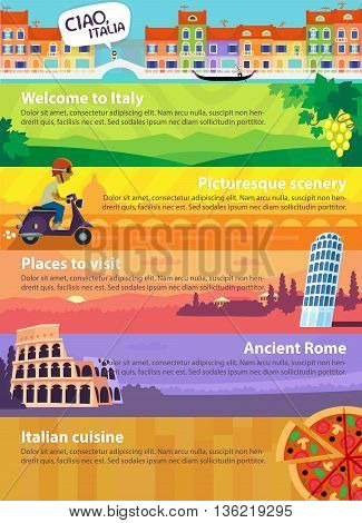 Colorful vector travel banners with Italian sights, cuisine and views of beautiful nature