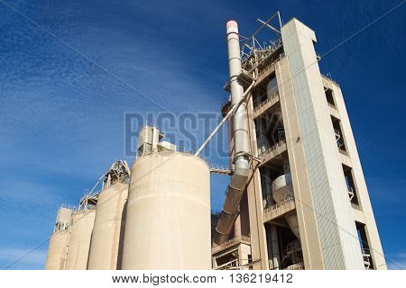 Exterior view of a cement factory, Morata de Jalon, Zaragoza province, Aragon, Spain.