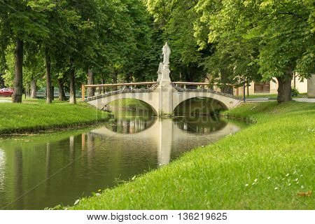 Romantic Stone Bridge Over Small River In Austria;