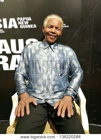 Da Nang, Vietnam - Jun 20, 2016: Nelson Mandela wax statue on display at Ba Na Hills mountain resort. Mandela was a South African anti-apartheid revolutionary, politician, and philanthropist.