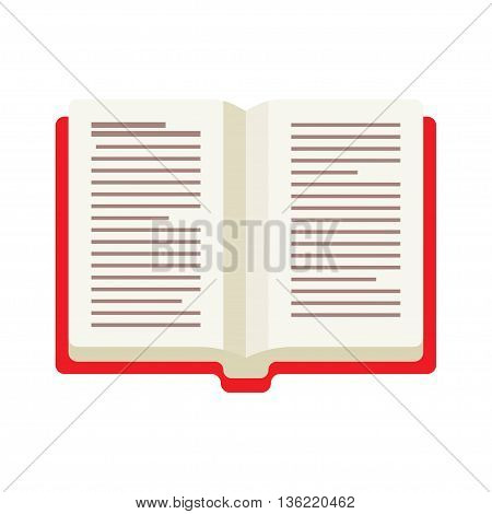 opened book with red cover vector illustration on White Background