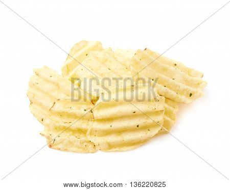 Pile of few potato chips crisps isolated over the white background