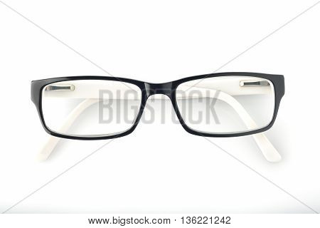 Top View of Spectacles on White Background