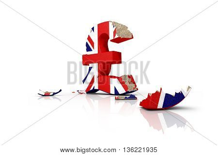 3d illustration of the battered British pound after the Brexit 2016