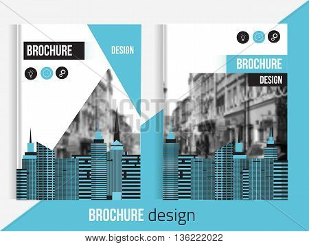 Set of Vector brochure cover templates with blured city landscape and lines. Professional Business presentation . A4 size Annual report template. Clean business catalogue cover