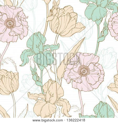 Vector Vintage Flowers Pastel Seamless Repeat Pattern With Tulips, Poppies, Iris In Classic Retro  Style Textile Design. Perfect for fabric, products, packaging, wallpaper, wrapping paper, scrapbooking.