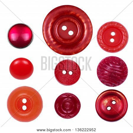 Set of different new and old red buttons on a white background