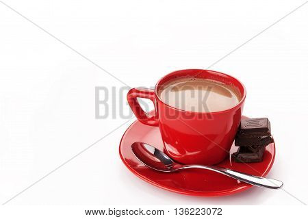 Hot chocolate drink in a red cup