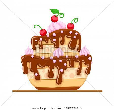 Sponge cake dessert with sweet chocolate glaze and cream red cherries fruits vector illustration icon isolated on white background