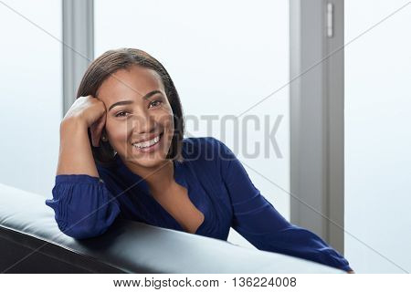 Smiling happy portrait of successful middle age businesswoman
