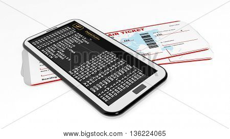 3d rendering Boarding tickets and cell with departures timetable.Isolated