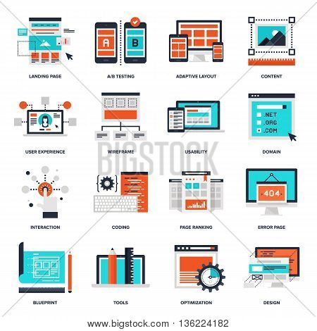 Abstract vector collection of flat web development icons. Elements for mobile and web applications.