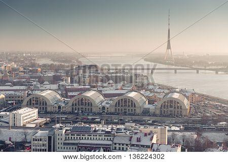 Latvias Capital - Riga from a bird's eye view at winter