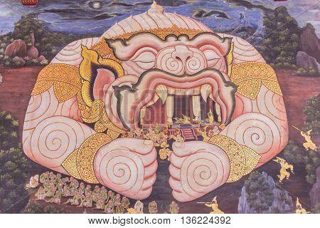 Bangkok, Thailand - June 5, 2016 : Painting of Hanuman on wall at The Emerald Buddha temple or