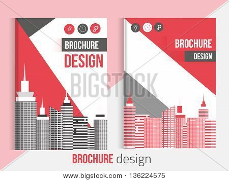 Red Set of Vector brochure cover templates with blured city landscape and lines. Professional Business presentation . A4 size Annual report template. Clean catalogue
