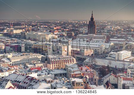RIGA, LATVIA - DECEMBER 30 2015: Riga from a bird's eye view at winter