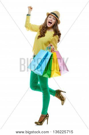 Happy Woman With Shopping Bags Rejoicing On White Background