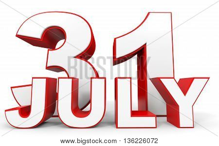 July 31. 3D Text On White Background.