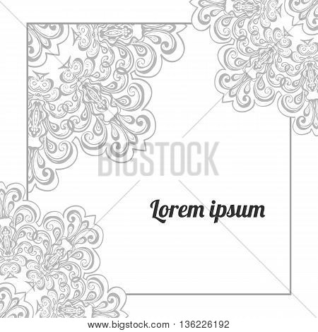Elegant greeting card or wedding invitation template with lace ornament, vector lacy background