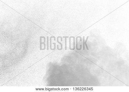 Abstract gray water vapor on a white background. Texture. Design elements. Abstract art. Steam the humidifier. Macro shot.