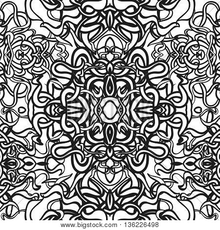 Vector black and white seamless abstract background with floral elements. For wallpaper, pattern fills, web page, surface textures, textile print, wrapping paper. Coloring book for kids and adults.