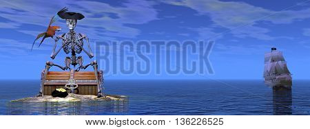 Skeleton pirate sitting on a treasure chest with its parrot by day with ship behind on the ocean - 3D render