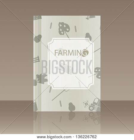 Book about farming. Realistic image of the object with reflection