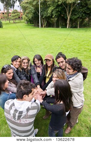 Casual group of friends outdoors - togetherness concepts