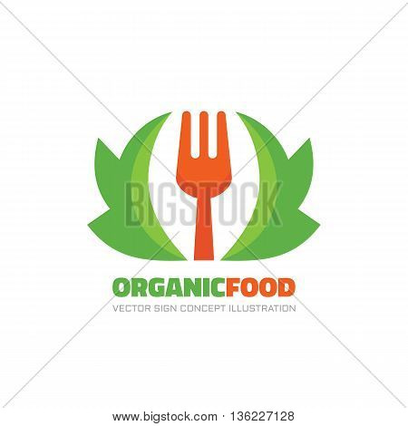 Organic healthy food - vector logo concept illustration in flat style. Fork and green lives minimal illustration. Vector logo template. Design element.