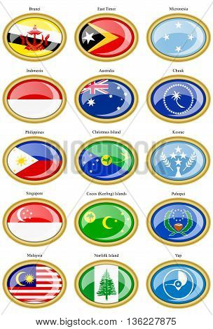 Set Of Icons. Flags Of Indo-australian Archipelago And Micronesia.