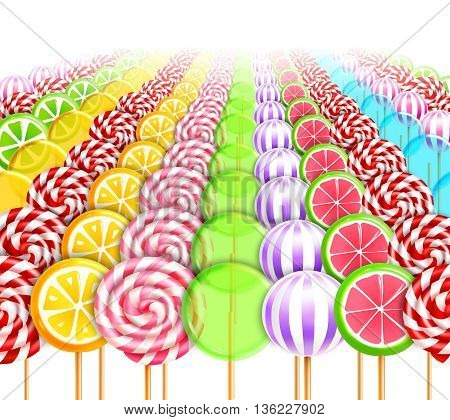 Sweet infinity background with endless number of lollipops and candies on sticks with different designs realistic vector illustration