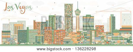 Abstract Las Vegas Skyline with Color Buildings. Vector Illustration. Business Travel and Tourism Concept with Modern Buildings. Image for Presentation Banner Placard and Web Site.