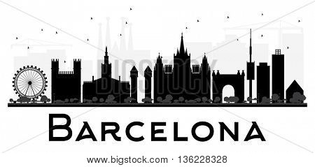 Barcelona City skyline black and white silhouette. Vector illustration. Simple flat concept for tourism presentation, banner, placard or web site. Business travel concept. Cityscape with landmarks