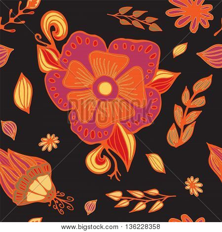 stock vector floral seamless doodle pattern. decorative element. abstract flowers