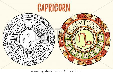Zodiac signs theme. Black and white and colored mandalas with capricorn zodiac sign. Zentangle mandala. Hand drawn mandala zodiac for tattoo art, printed media design, stickers, coloring book pages.