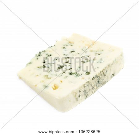 Slice of a blue roquefort cheese isolated over the white background
