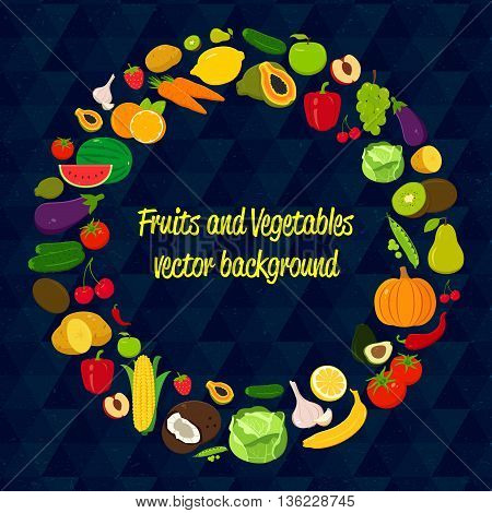 Vegetable vector circle background. Fruits and Vegetables icons. Modern flat design. Healthy food background. Vector illustration