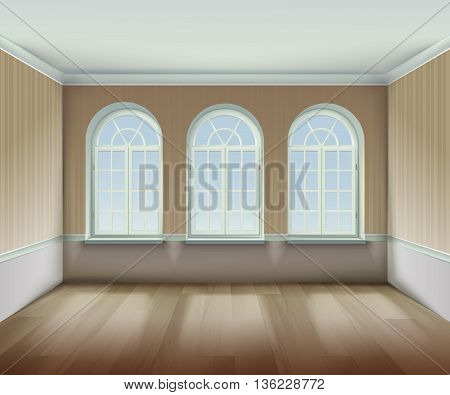 Room With  Arched Windows Background. Interior With Arched Windows Vector Illustration. Arched Windows Design. Room Interior Realistic  Decorative Illustration.