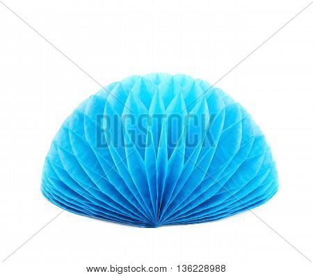 Blue honeycomb pom-pom paper ball decoration isolated over the white background