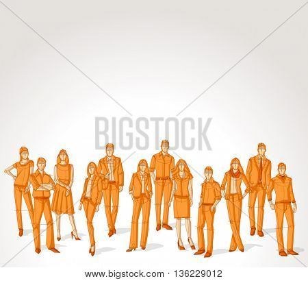 Group of orange business people. Sketch silhouette.