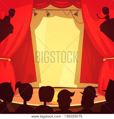 Color cartoon illustration depicting theatre scene and silhouettes people in front of stage vector illustration