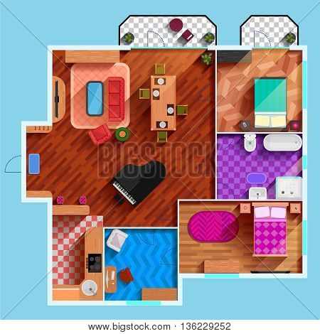 Top view of the interior of typical apartment with furniture dining room bedrooms kitchen bathroom and balcony flat vector illustration